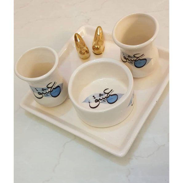 pottery tea set with tray and sugar bowl for two people(rumi design/love design)