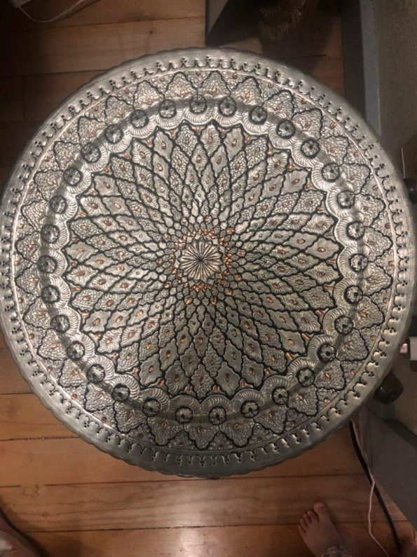 Traditional Coffee Table, corner table Persian Handmade Engraved Copper tray With wooden base