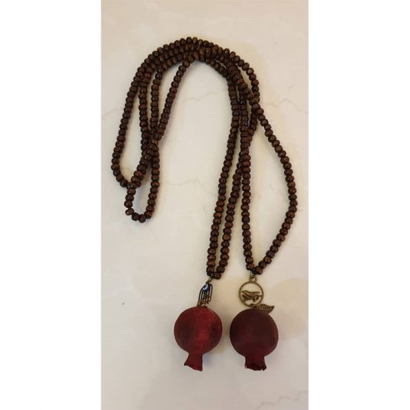 natural pomegranate wood beads necklace sign of blessing for car mirror