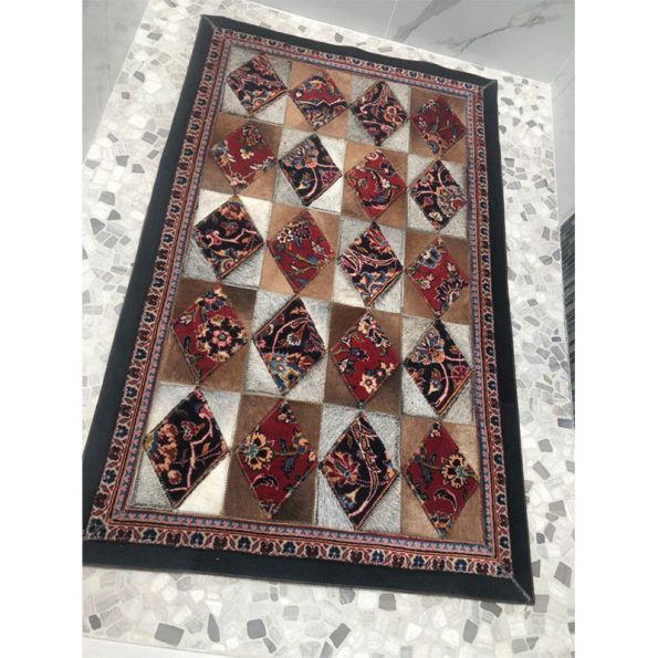 Traditional Rug, A Combination of Persian Handmade wool rug with cow leather