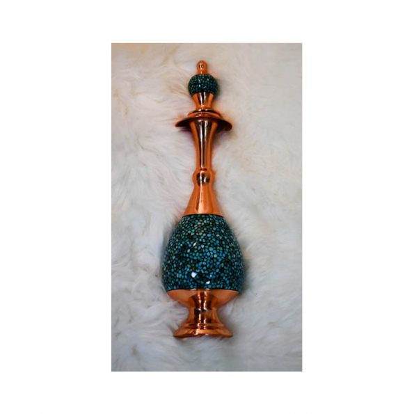 Rose Water Sprinkler Oriental Vase Long Neck Vase Inlaid Turquoise stone Copper Handmade Persian Crafts