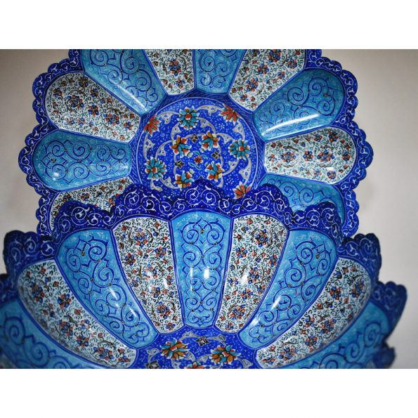 persian enamel meenakari copper fruit dish