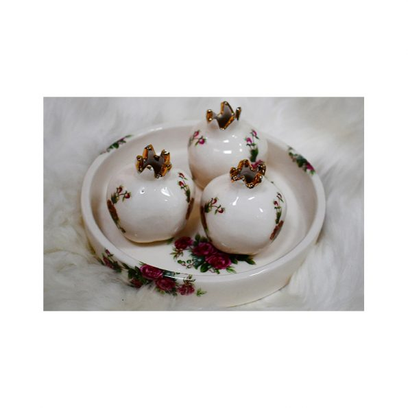small ceramic pomegranate with plate for Yalda