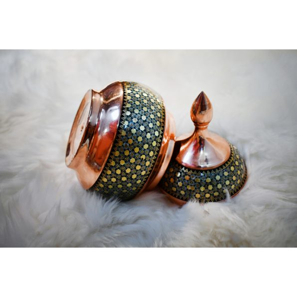 handmade khatam Copper Sugar Pot & Candy Dish
