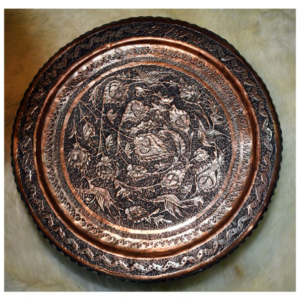 Persian Handmade Engraved Copper tray With wooden base 15*15